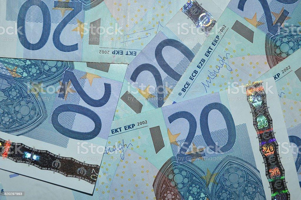 Veinte fondo de billetes de euro foto de stock libre de derechos