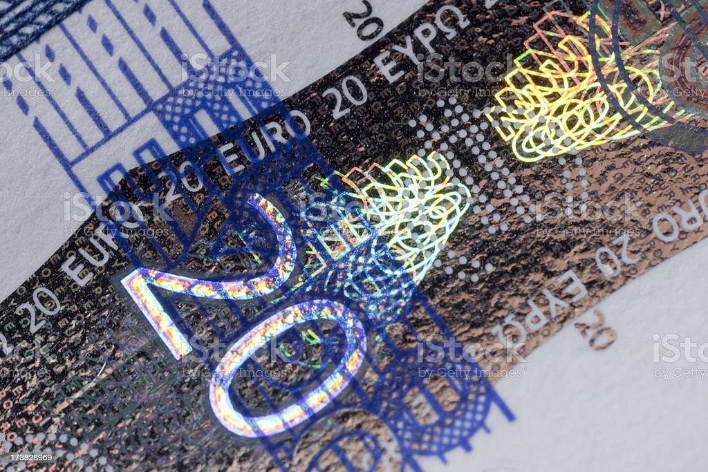 Twenty Euro detail royalty-free stock photo