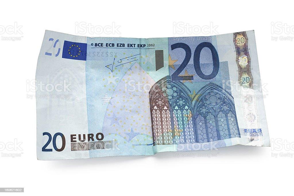 twenty euro note isolated on white stock photo