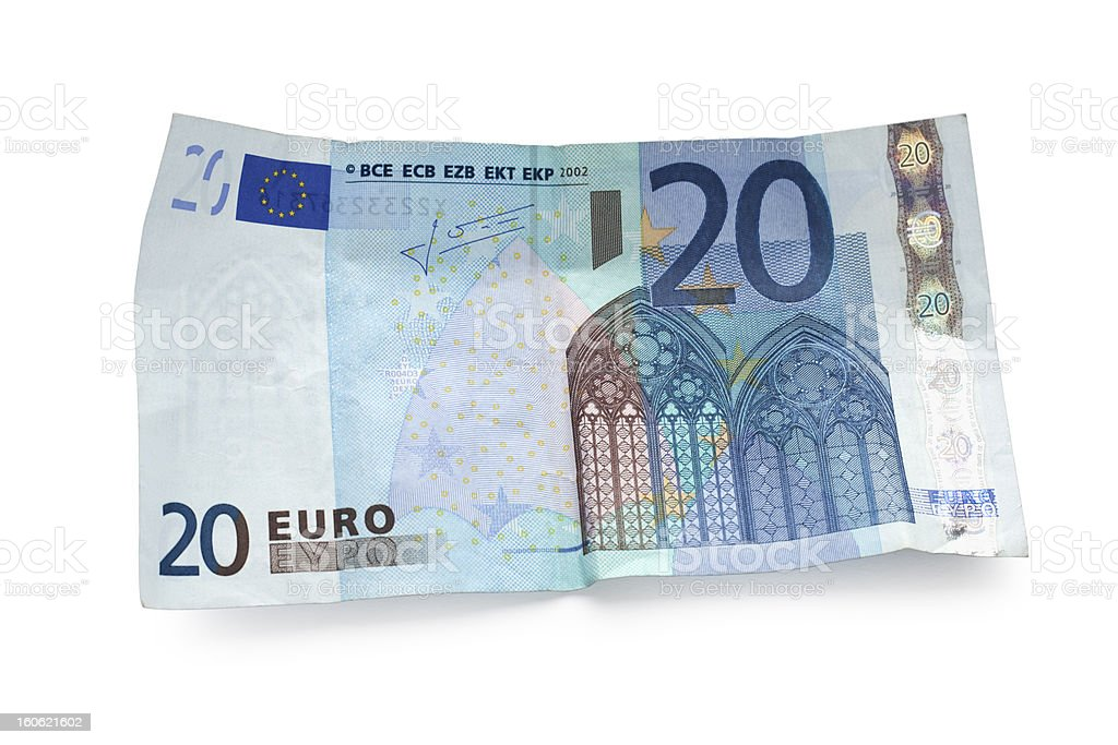 twenty euro note isolated on white stock photo