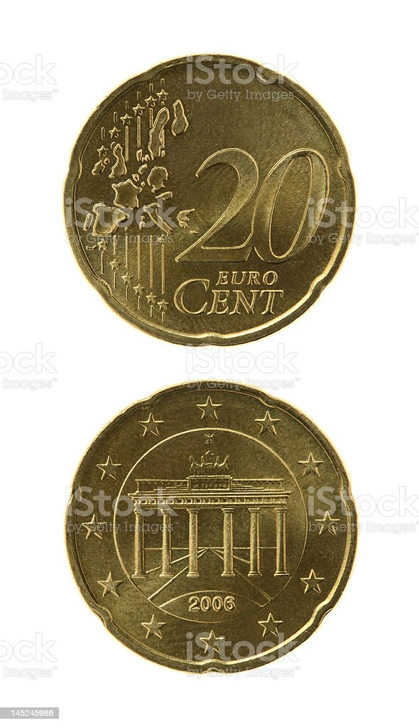 Twenty Eurocents Coin stock photo