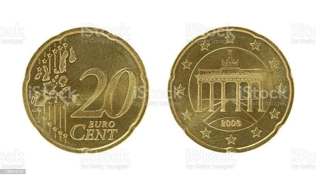 Twenty Eurocents Coin stock photo