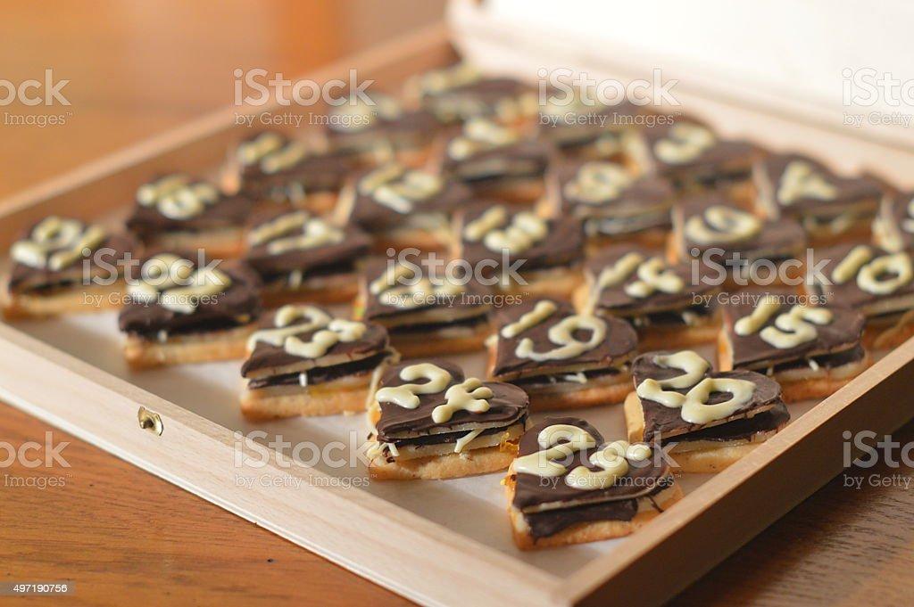 twenty five chocolate hearts as Advent calendar stock photo
