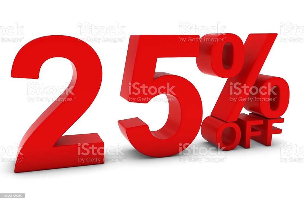 25% OFF - Twenty Five Percent Off Red Text stock photo