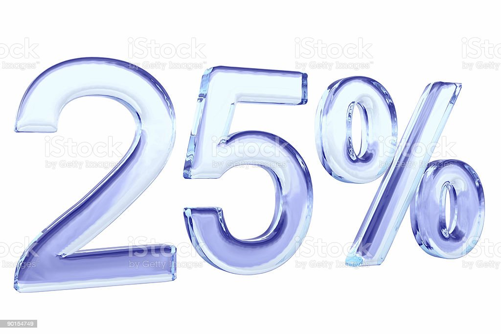 twenty five percents blue glass sign isolated on white royalty-free stock photo