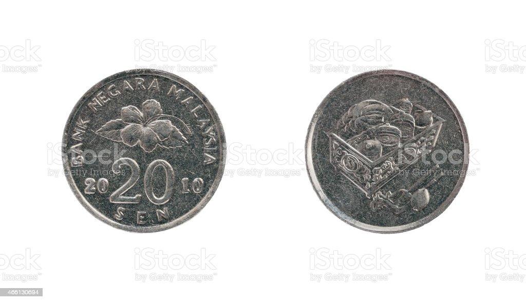 Twenty Malaysia cents coin stock photo