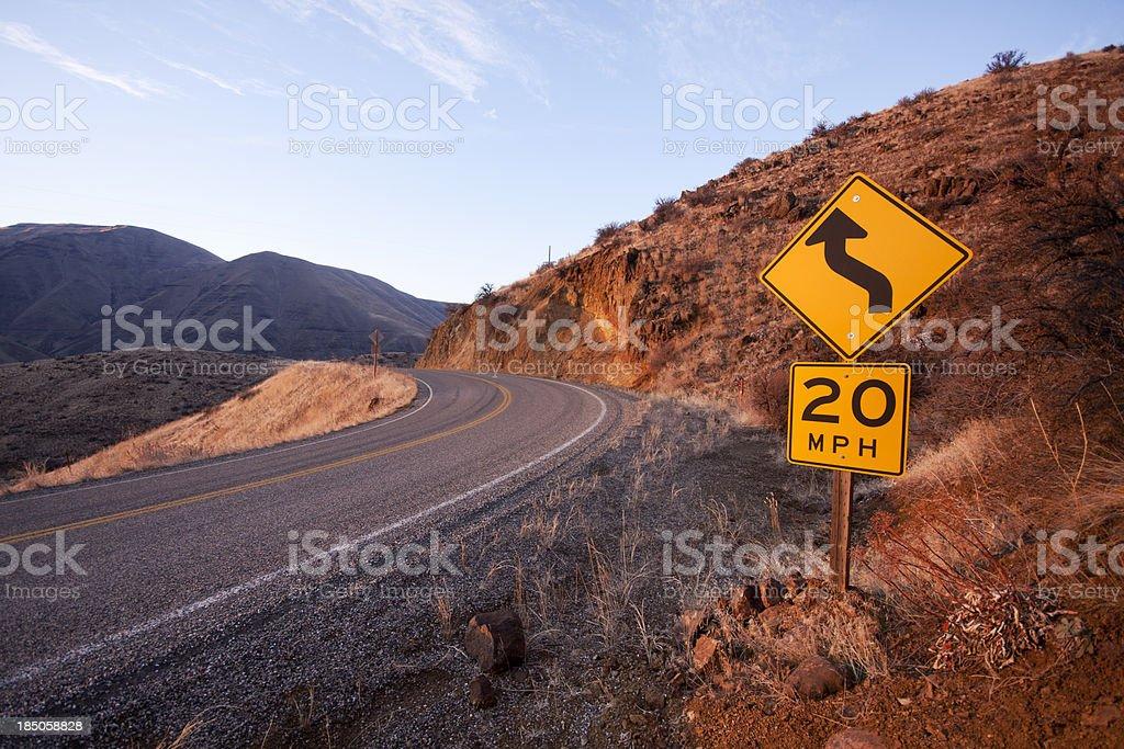 Twenty MPH Twisty Road royalty-free stock photo