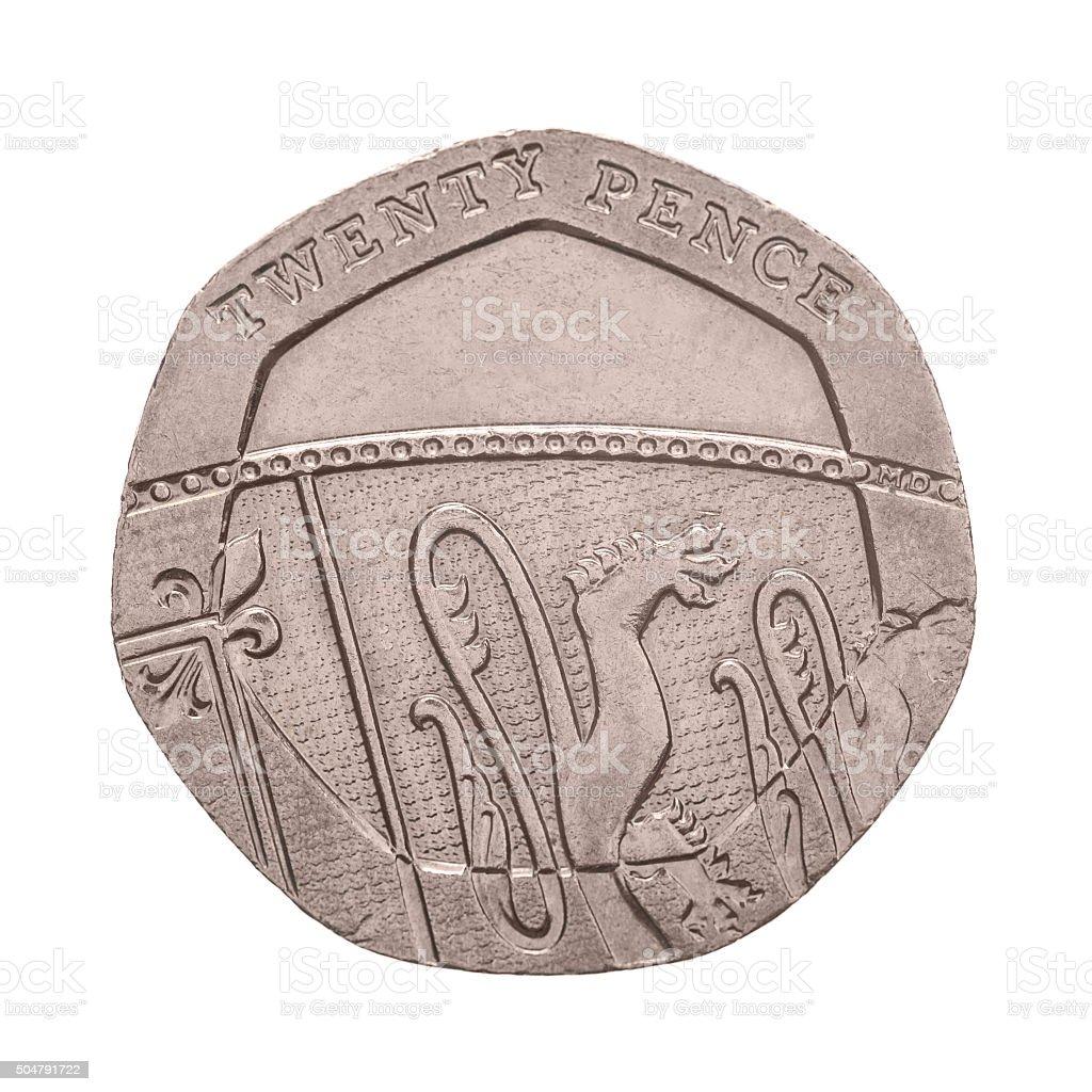 Twenty Pence coin isolated stock photo