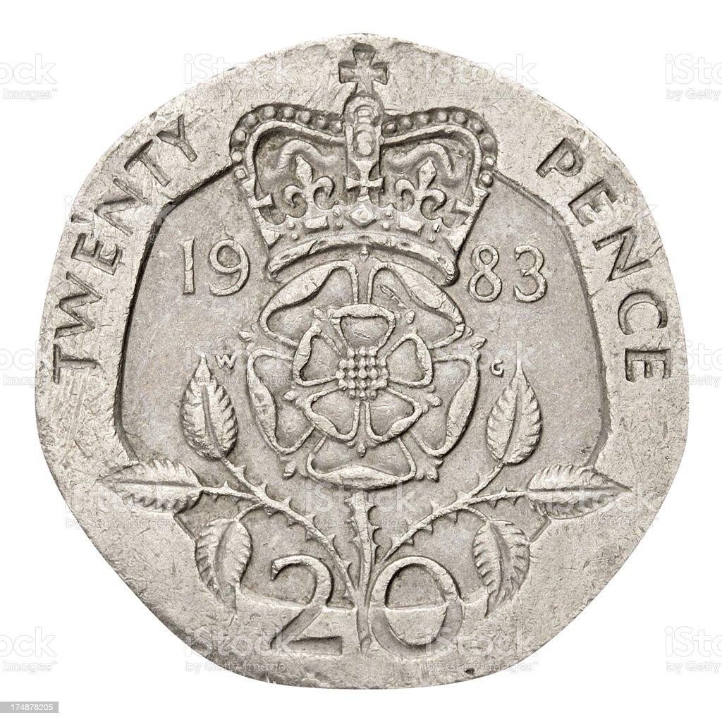 Twenty Pence Coin on white background royalty-free stock photo