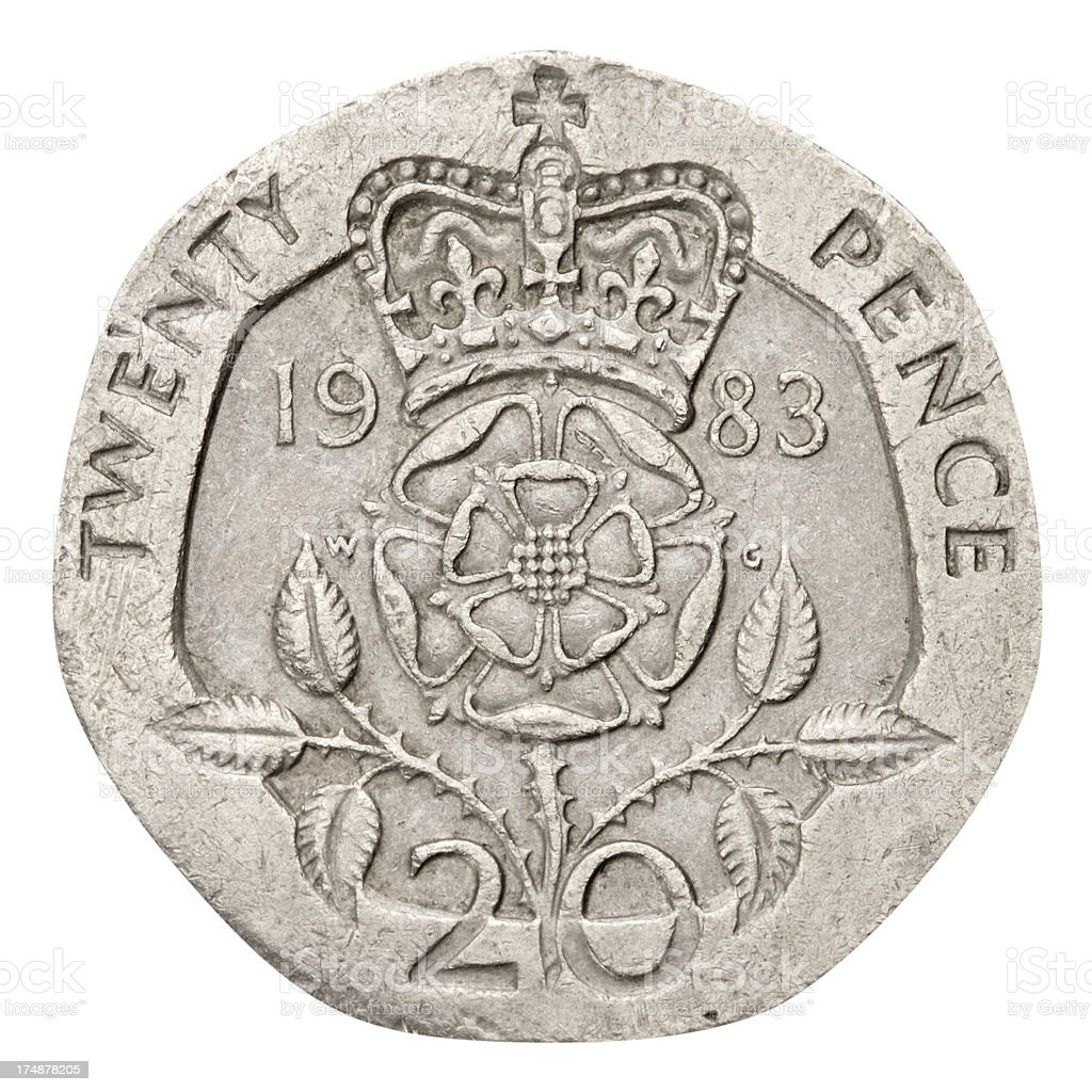 Twenty Pence Coin on white background stock photo