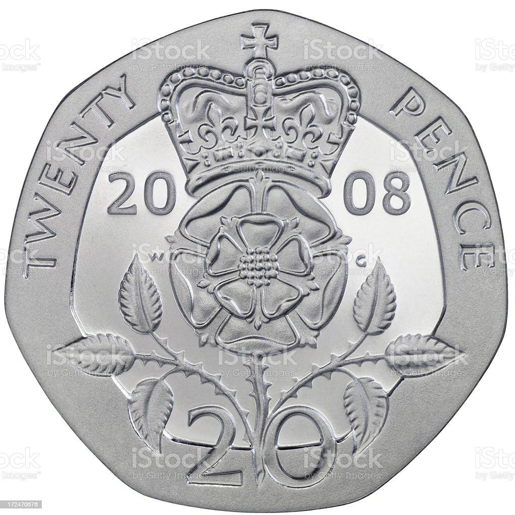 Twenty Pence Coin stock photo