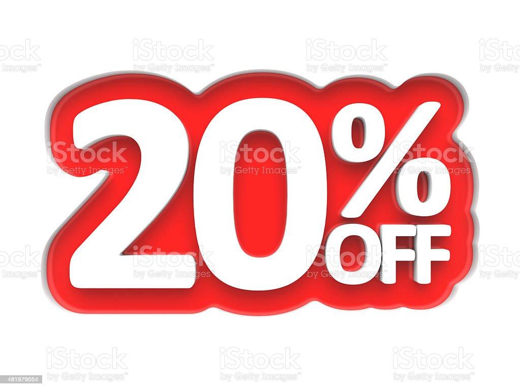 Twenty percent off price Isolated on white stock photo