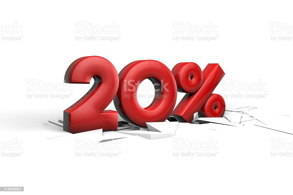 Twenty Percent sign breaking through a white floor stock photo