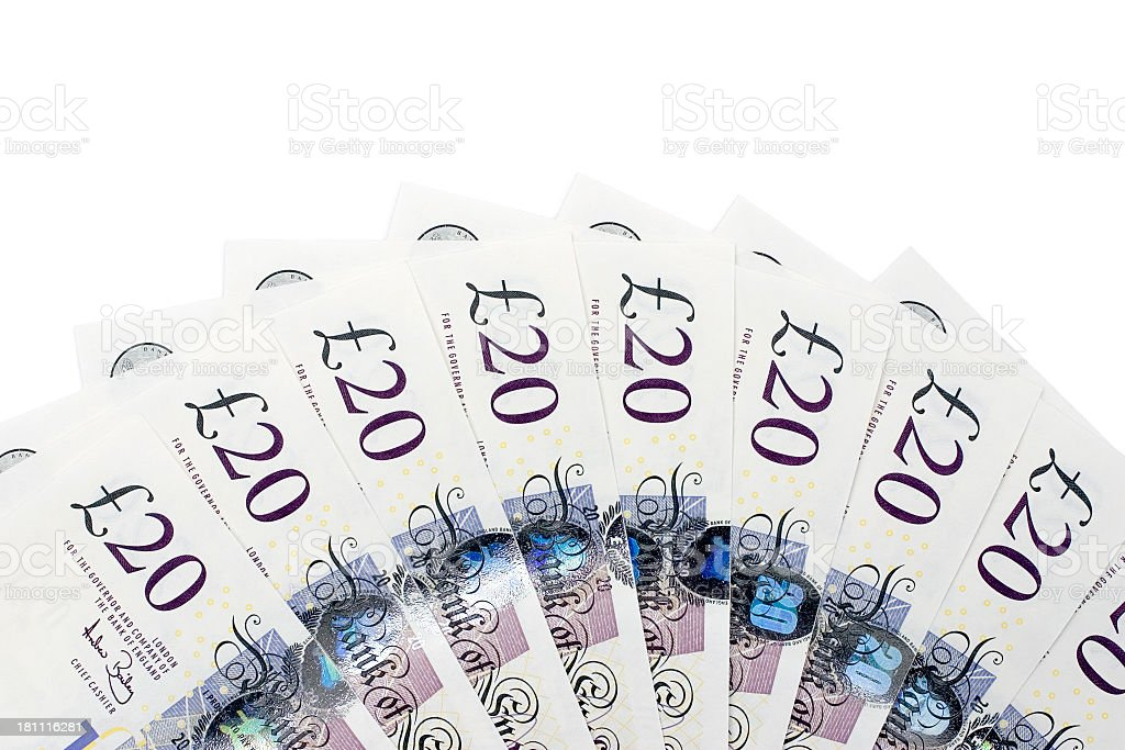 twenty pound banknotes royalty-free stock photo
