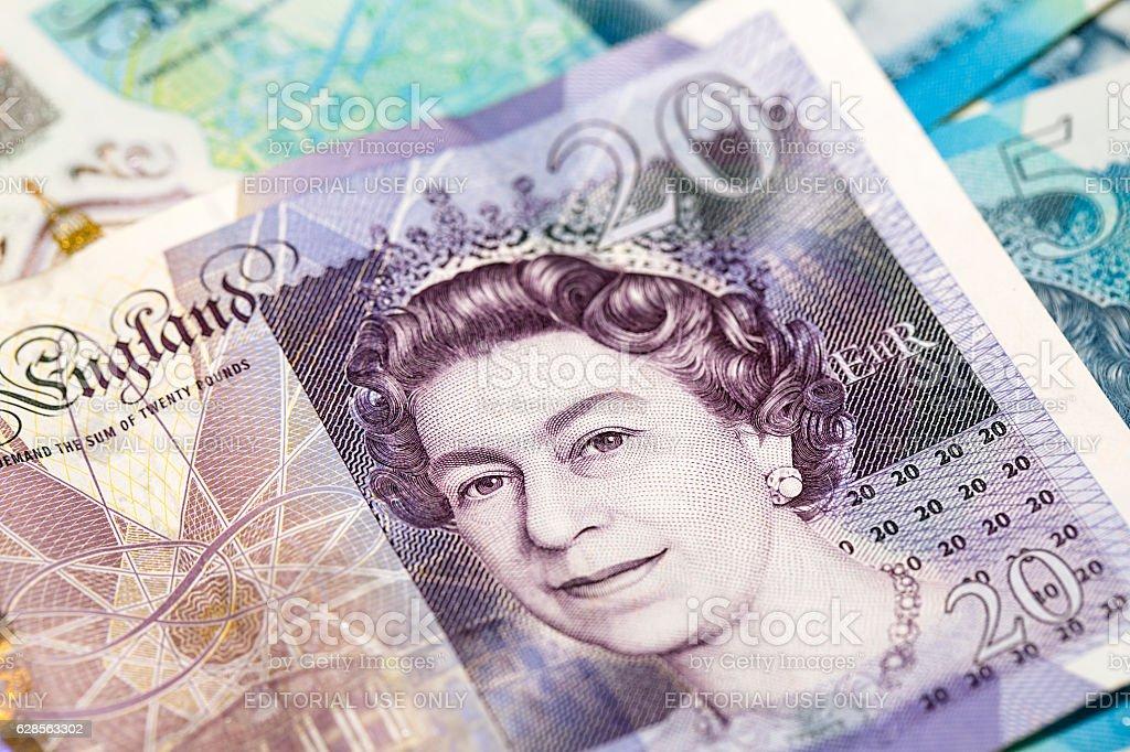 Twenty Pound Note - Close -up stock photo