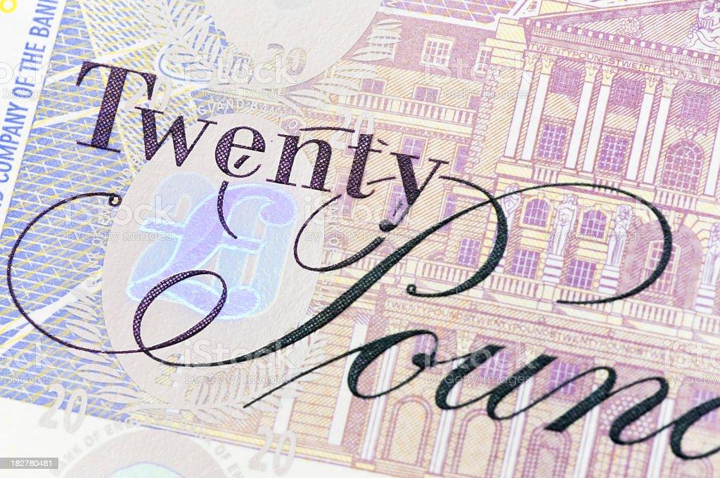 Twenty Pound Note Close-Up stock photo