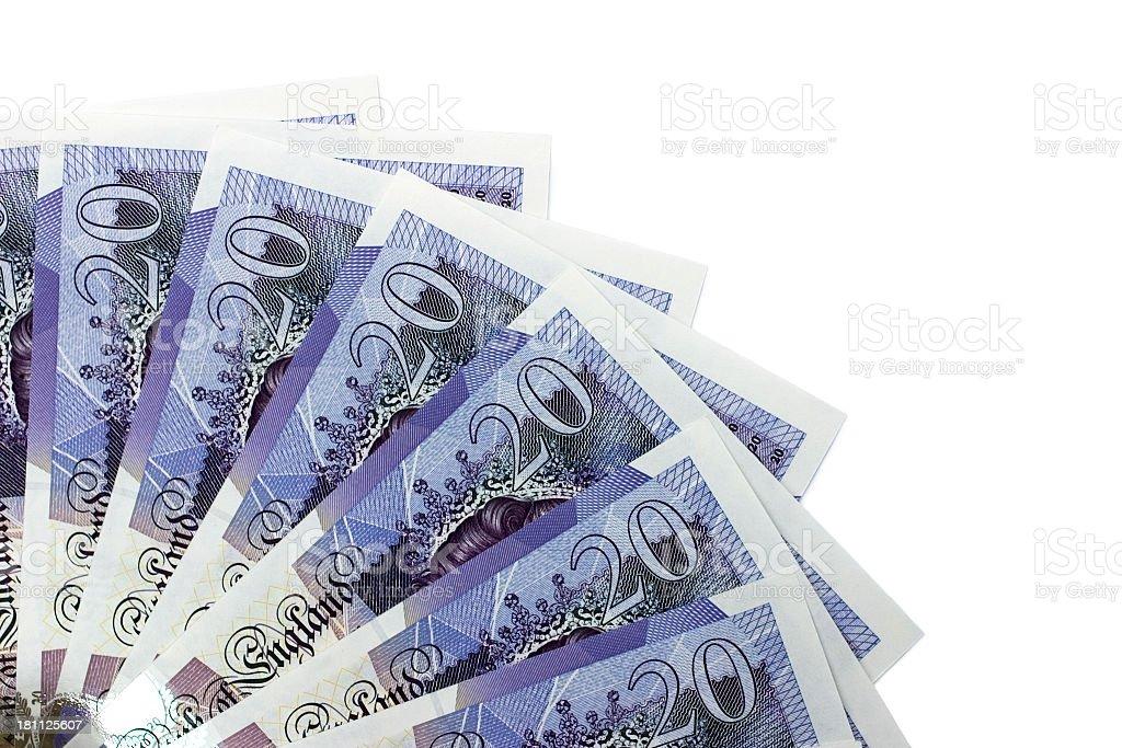 twenty pound notes stock photo