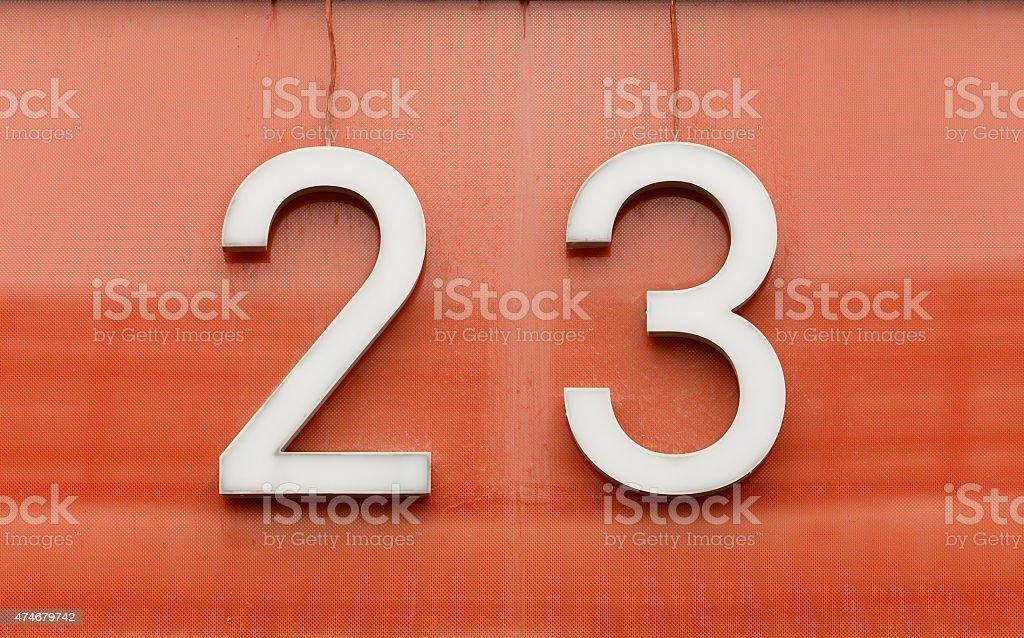 Twenty three stock photo