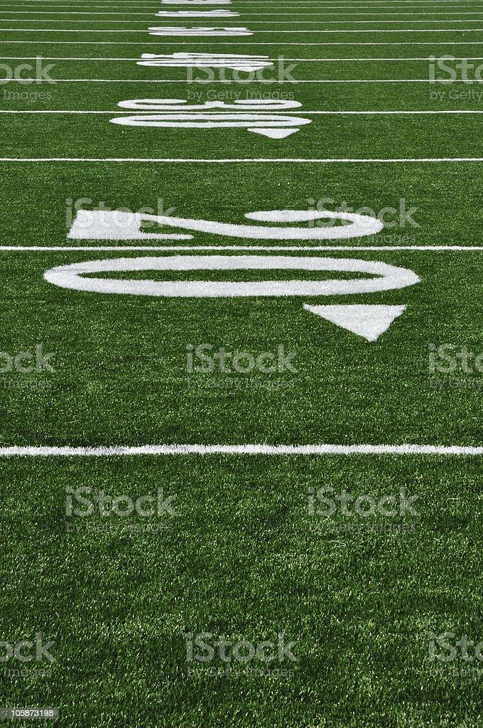 Twenty Yard Line on American Football Field royalty-free stock photo