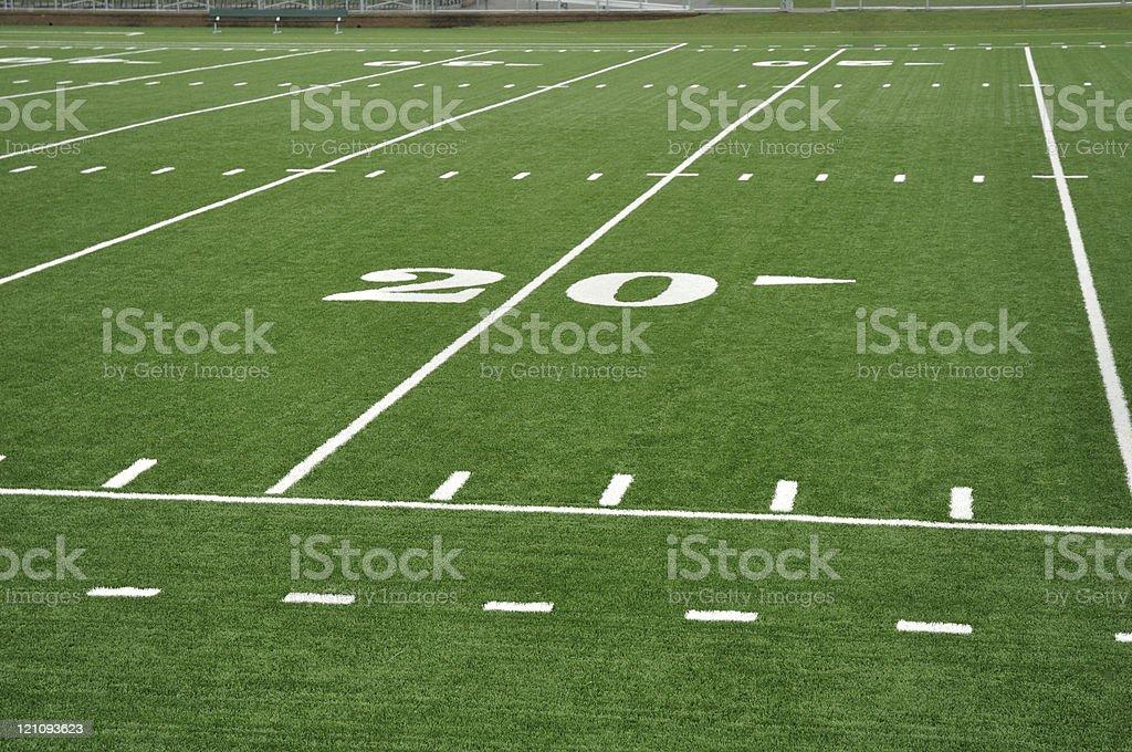 Twenty Yard Line on American Football Field stock photo