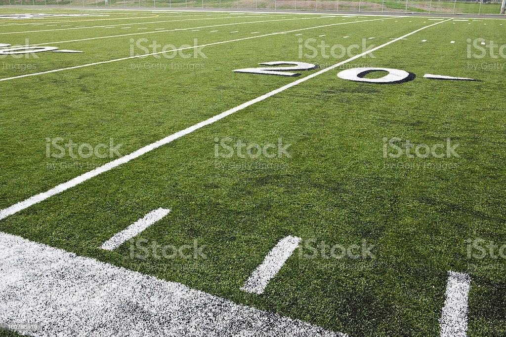 Twenty Yard Line on Football Field stock photo