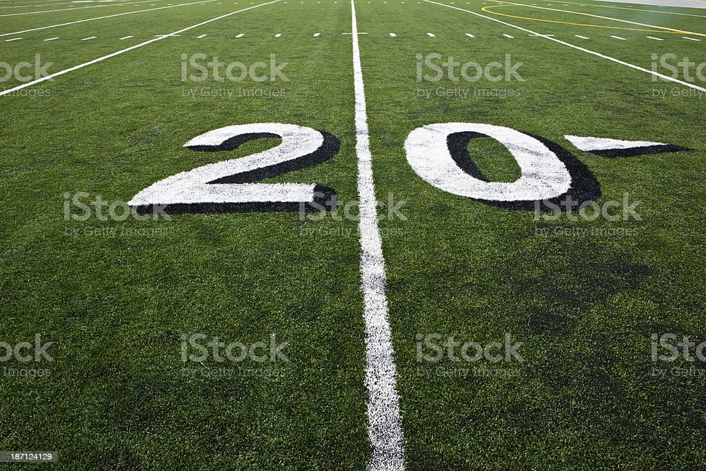Twenty Yard Line on Football Field royalty-free stock photo