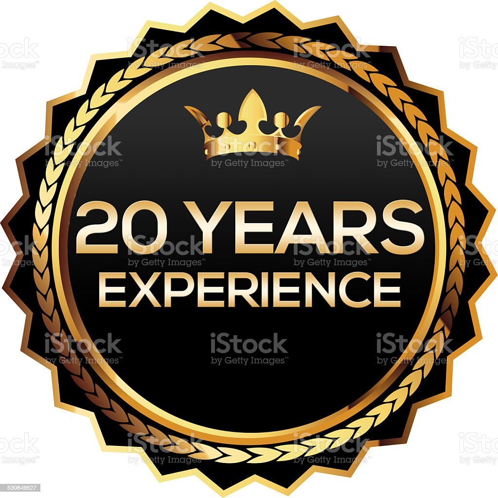 Twenty years experience gold badge stock photo