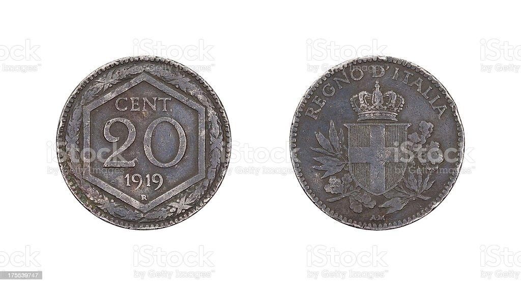 Twenty-Centesimo-Coin, Italy, 1919 stock photo