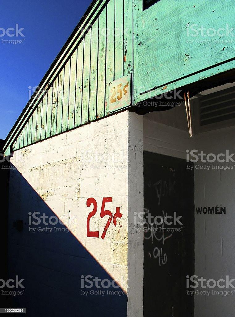 twenty-five cent bathroom stock photo
