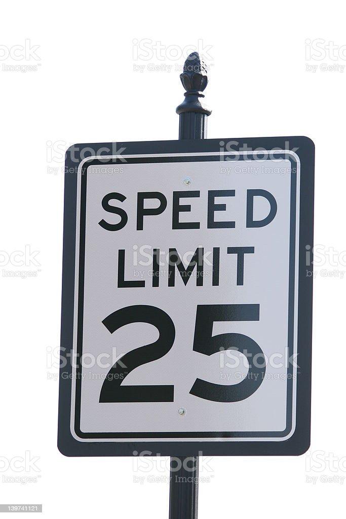 Veinticinco MPH límite de velocidad foto de stock libre de derechos