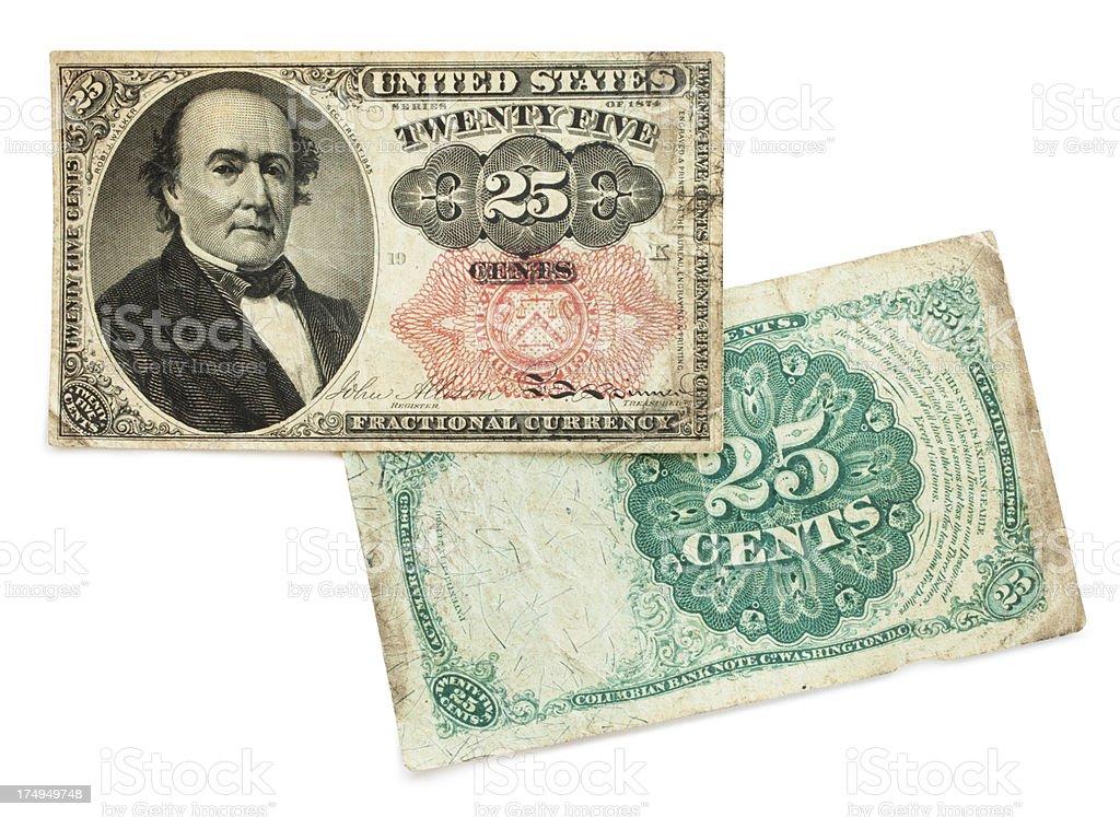Twenty-five (25 Cents) Paper Money stock photo