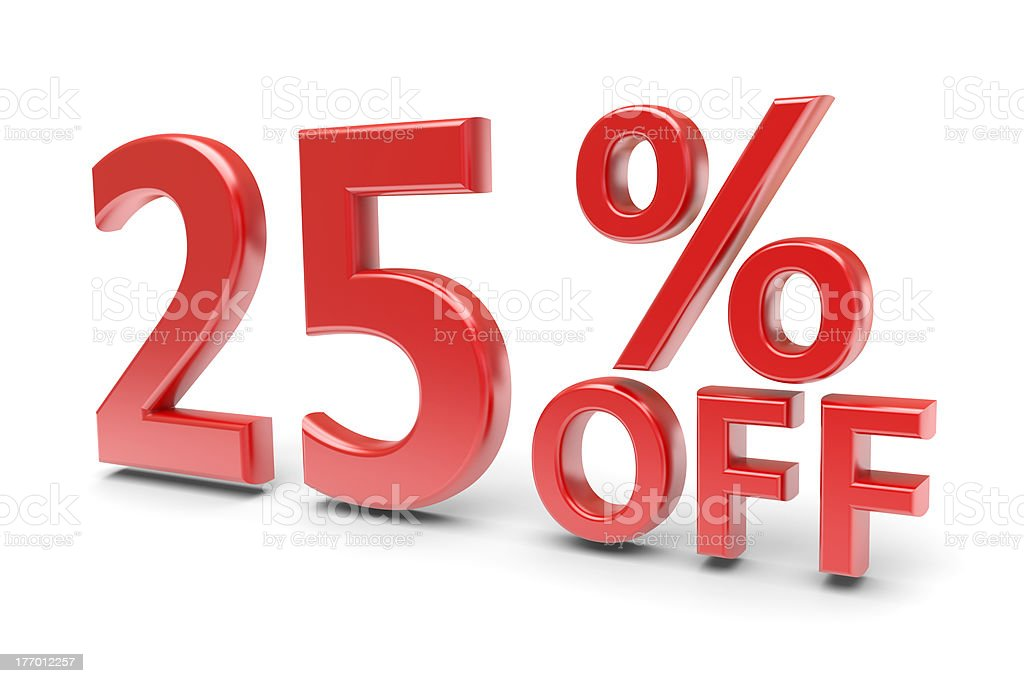 Twenty-five percent discount royalty-free stock photo