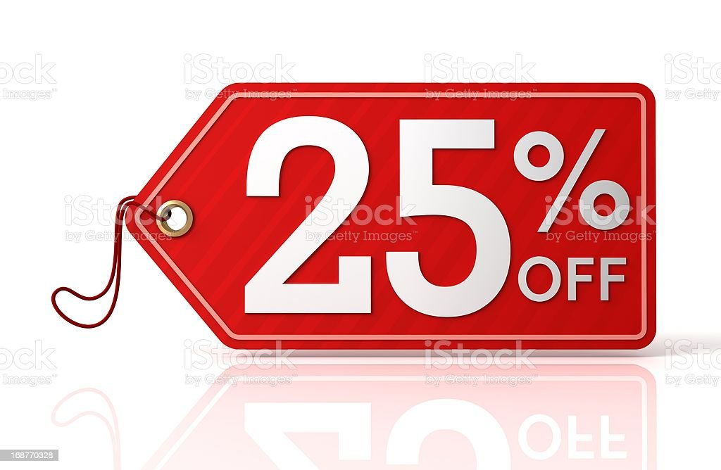 Twenty-five percent off label royalty-free stock photo