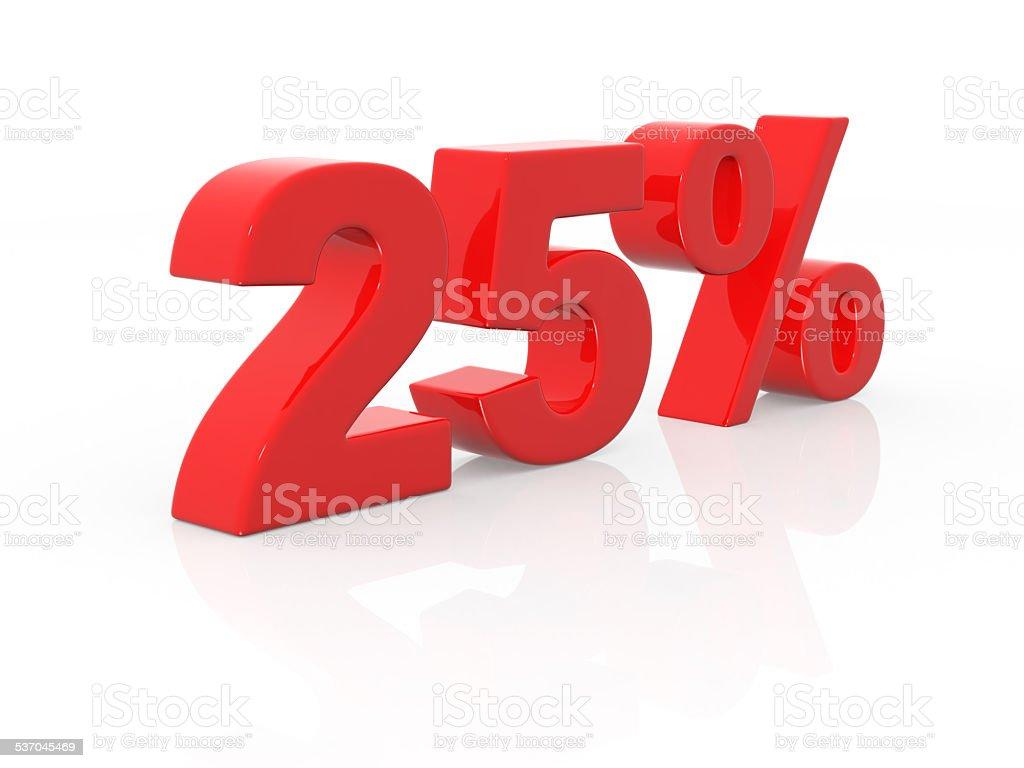 twenty-five percent stock photo
