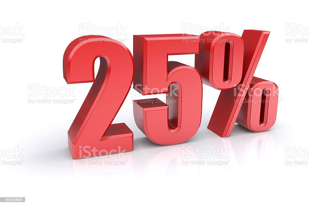 Twenty-five percent sign royalty-free stock photo