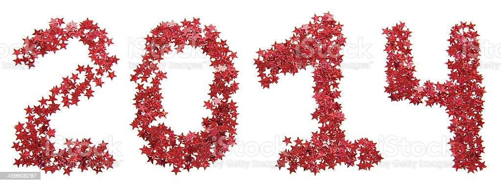 Twenty-fourteenth New Year of red stars royalty-free stock photo