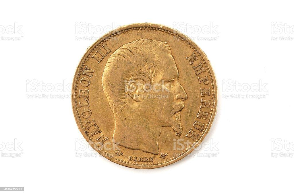 Twenty-franc, gold, Napoléon III, France stock photo