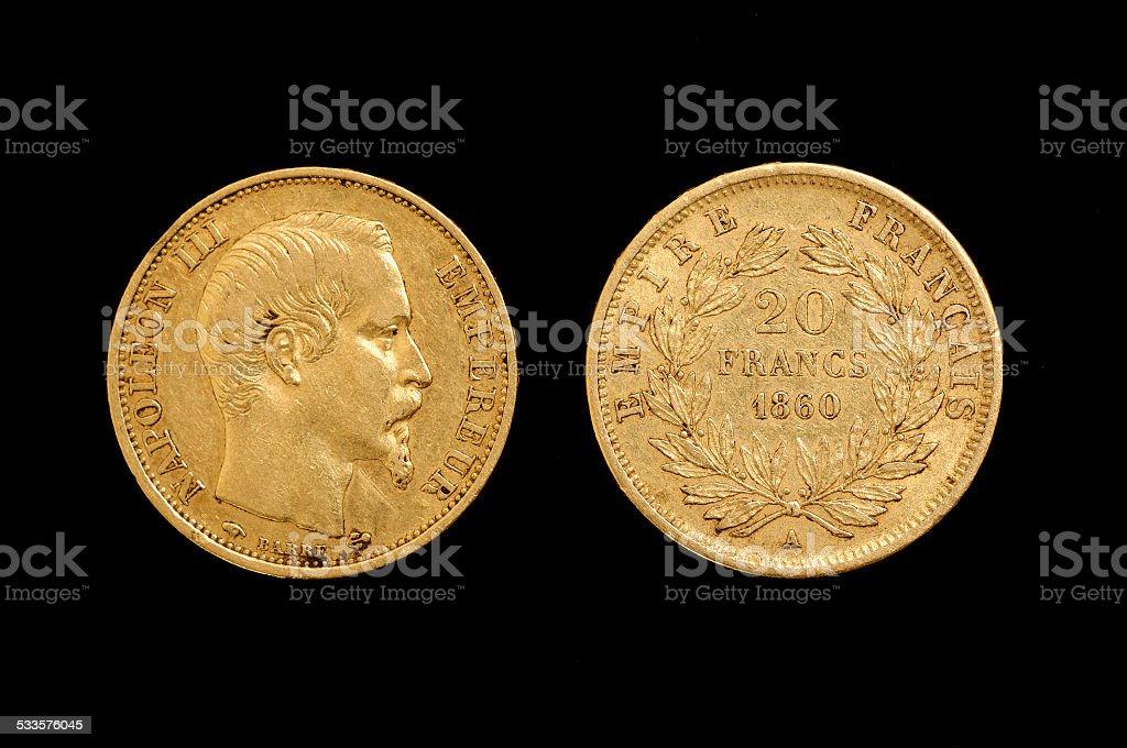 Twenty-franc, gold, Napol?on III, France stock photo