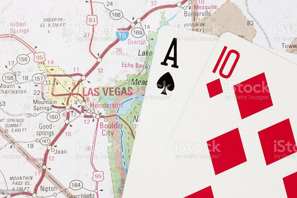 Twenty-One Hand in Blackjack on Map to Las Vegas Nevada royalty-free stock photo