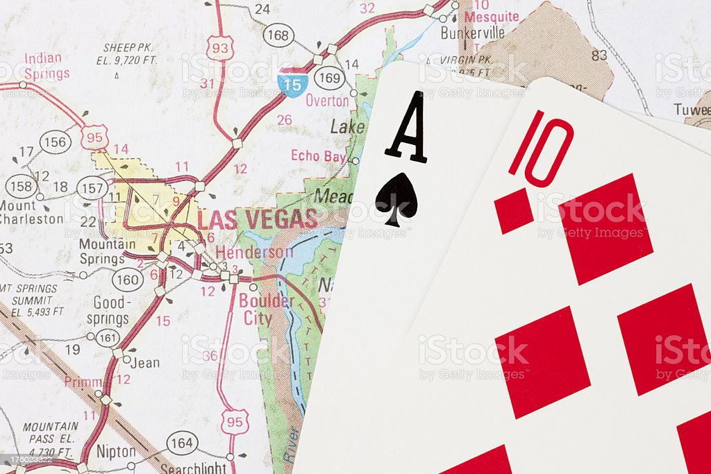 Twenty-One Hand in Blackjack on Map to Las Vegas Nevada stock photo