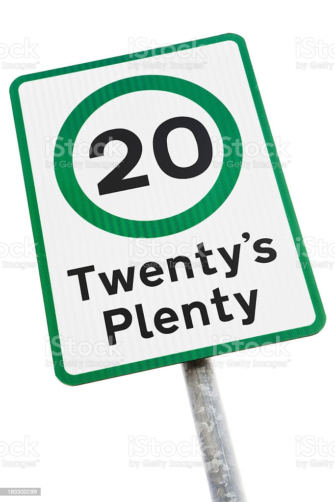 Twenty's plenty road sign isolated on white royalty-free stock photo