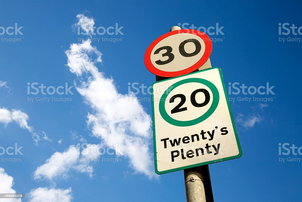 'Twenty's Plenty' sign sitting below a 30mph zone. stock photo
