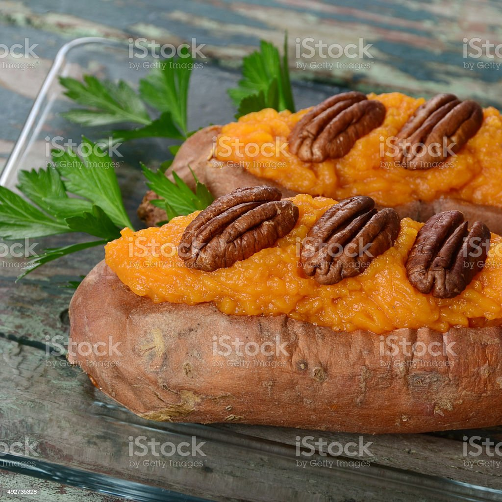 Twice-Baked Sweet Potato stock photo