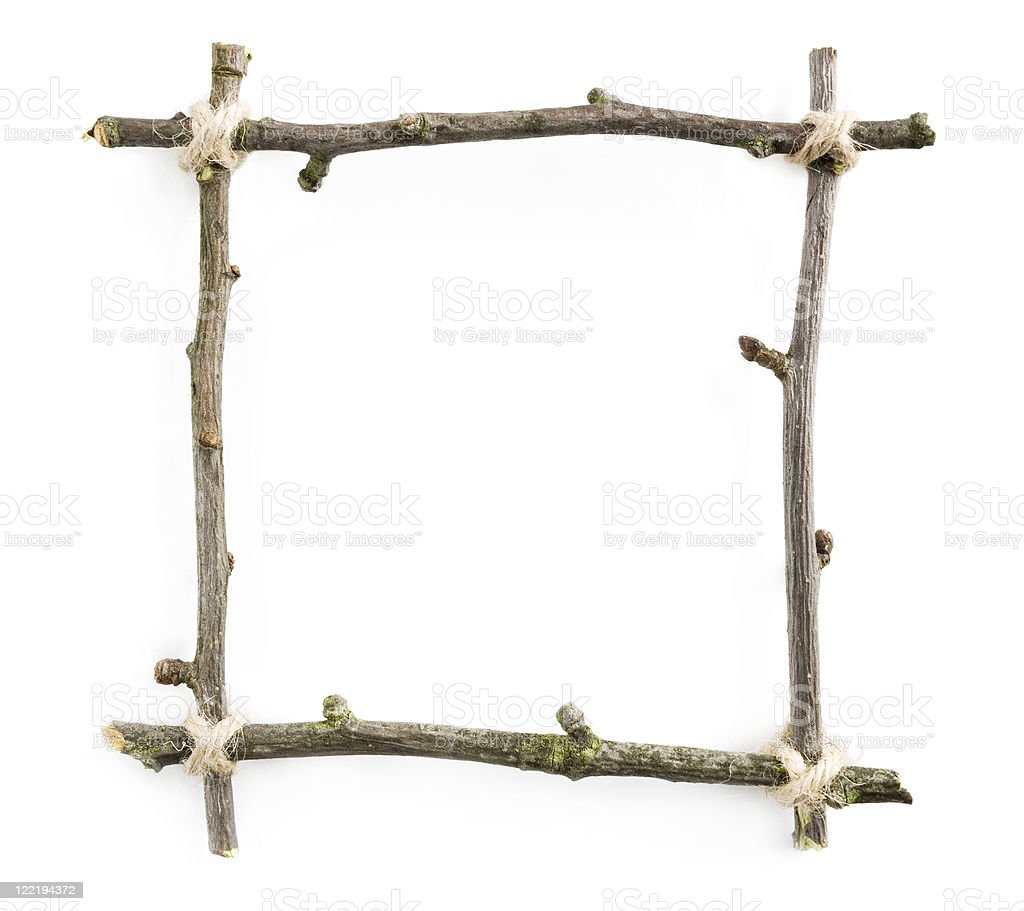 Twig frame with rope on white stock photo