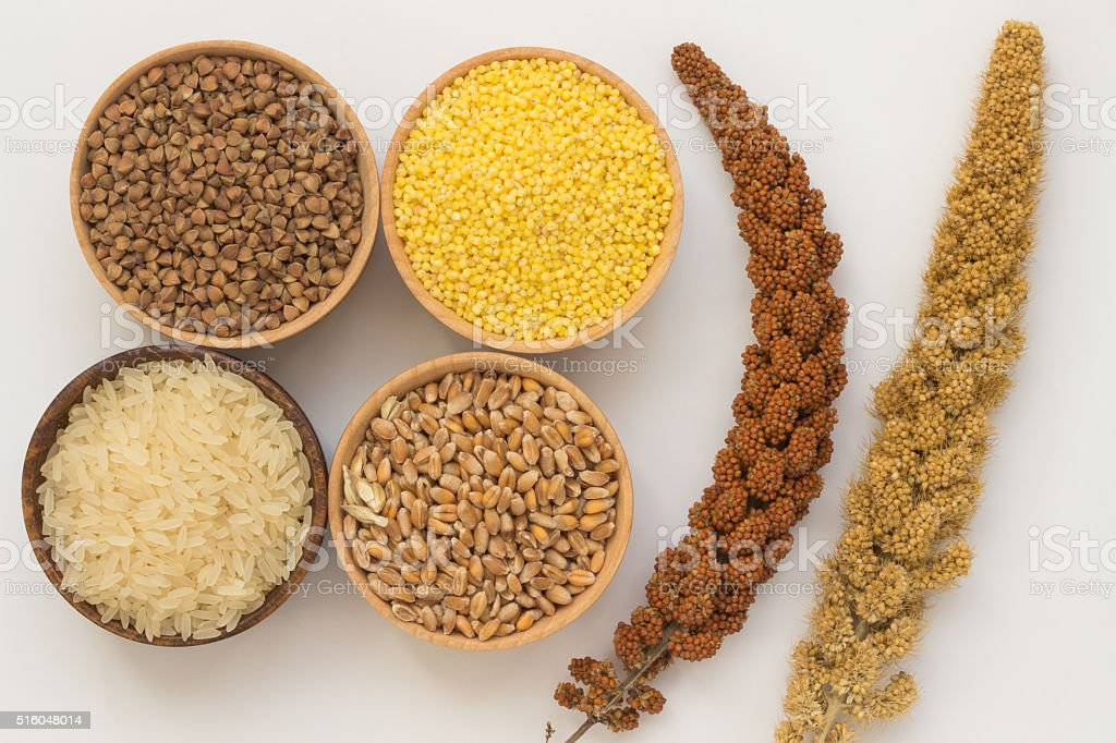 Twig red millet, yellow millet twig. Buckwheat, millet stock photo