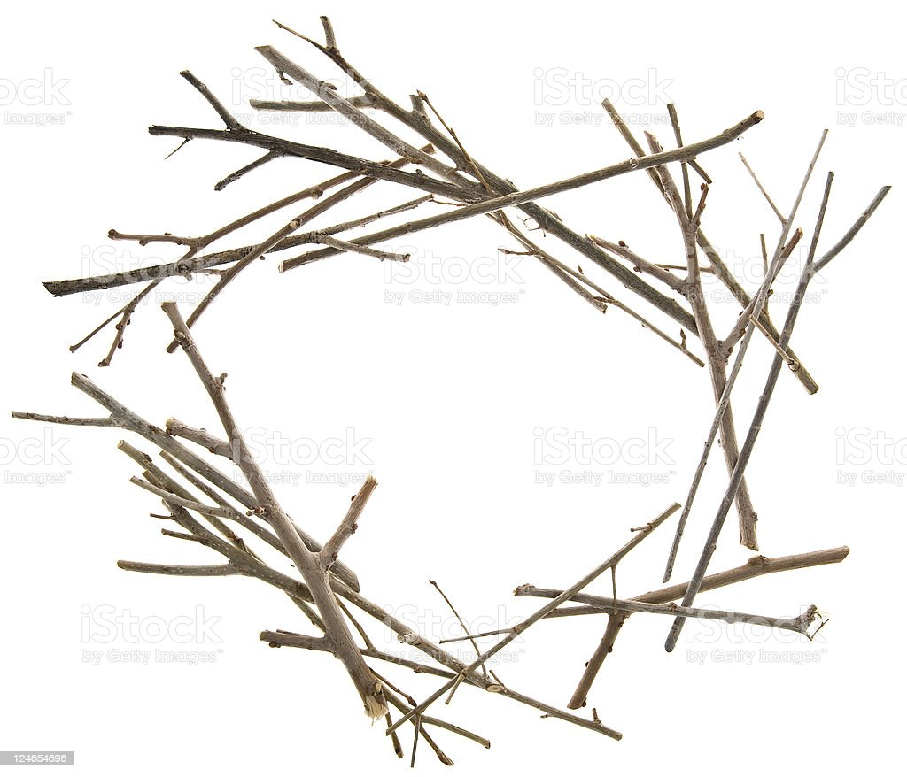 Twigs and Sticks Frame royalty-free stock photo