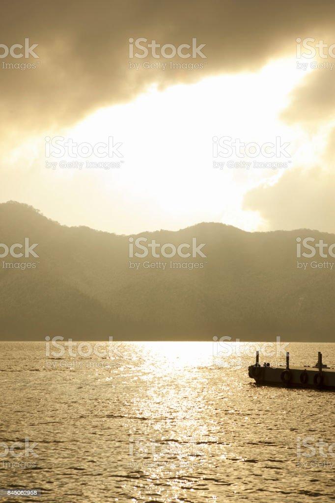 Twilight ASHI-Lake stock photo