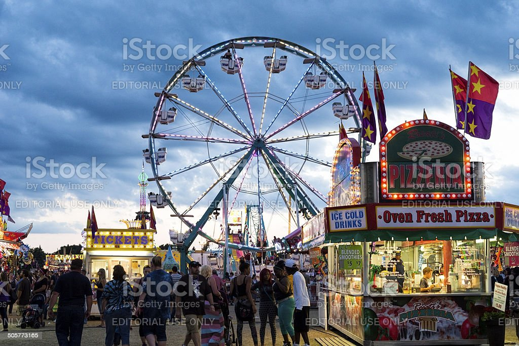 Twilight at a county fair in rural Minnesota stock photo