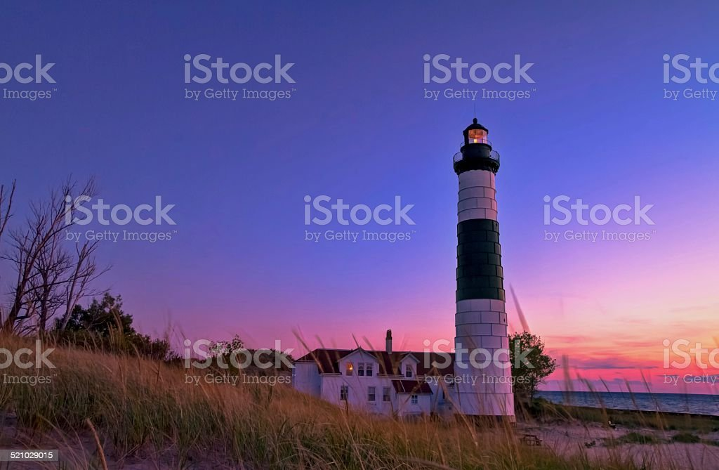 Twilight At Big Sable Lighthouse In Ludington Michigan stock photo