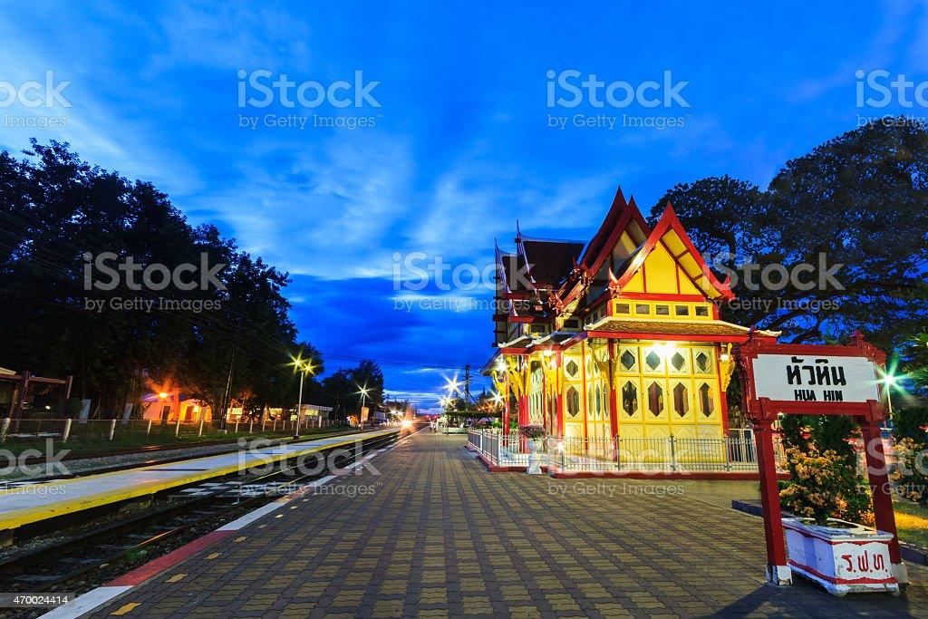 Twilight at Hua Hin Railway Station. stock photo